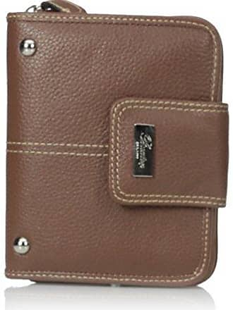 Buxton Womens Westcott Tab Zip-Around Attache, Tan, One Size