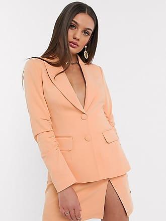 4th + Reckless Petite exclusive ruched blazer in peach-Orange