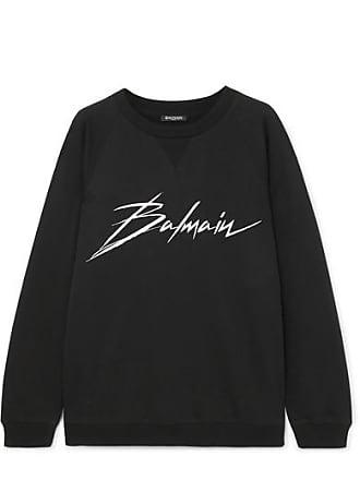 Balmain Printed Cotton-jersey Sweatshirt - Black