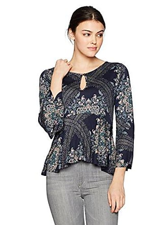 Lucky Brand Womens Printed Bell Sleeve Top, Navy Multi, S