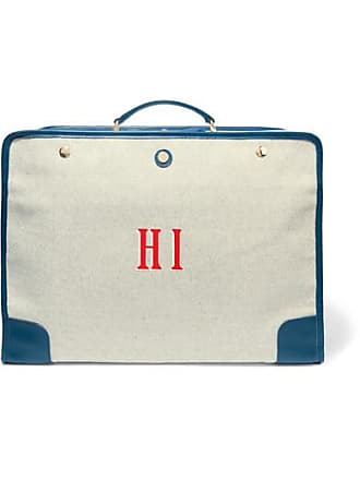 Paravel Stowaway Collapsible Leather-trimmed Canvas Suitcase - Navy