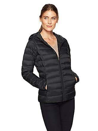 Amazon Essentials Womens Lightweight Water-Resistant Packable Hooded Down Jacket, Black Caviar, X-Small