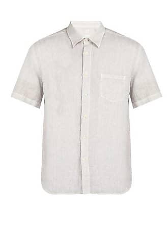 120% Lino Short Sleeved Linen Shirt - Mens - Grey