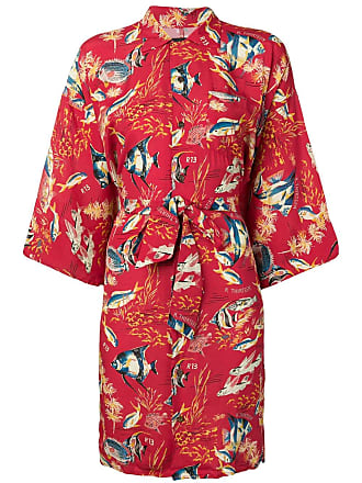 R13 fish print kimono dress - Red