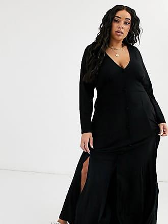 Asos Curve ASOS DESIGN Curve - Vestito da giorno lungo a maniche lunghe con bottoni e spacchi-Nero
