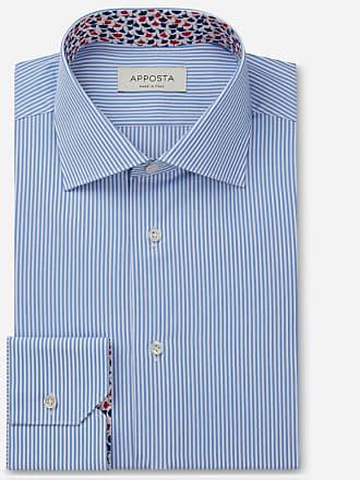 Apposta Shirt stripes light blue 100% pure cotton plain, collar style semi-spread collar