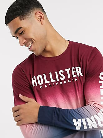 Hollister ombre chest and sleeve logo long sleeve top in burgundy-Red