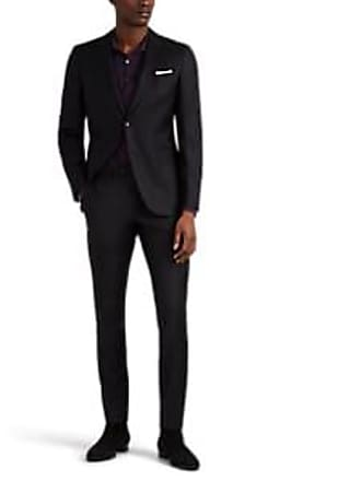 Barneys New York Mens Traveler Wool Twill Two-Button Suit - Black Size 50 L