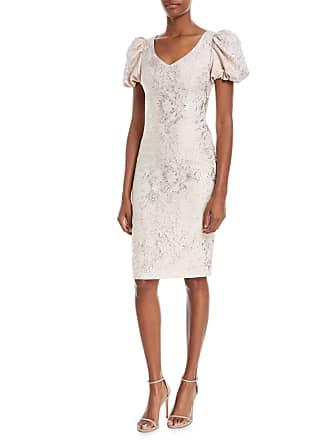 cb9e394f7e Theia V-Neck Puff-Sleeve Tissue-Weight Cocktail Dress