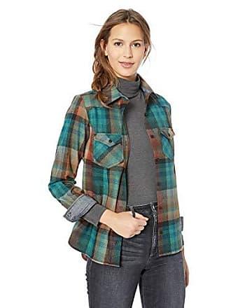 Pendleton Womens Shaniko Wool Western Shirt, Aqua/Rust Plaid, MD