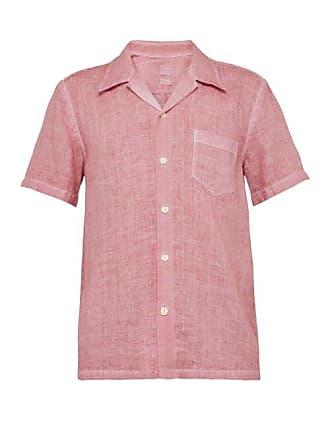 120% Lino Point Collar Linen Polo Shirt - Mens - Pink