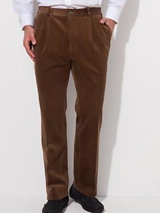 Blancheporte Pantalon velours pinces taille élastiquée - châtaigne 244bfd70dfc
