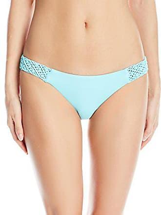 Quintsoul Womens Macrame Low-Rise Bikini Bottom, Light Blue, Medium
