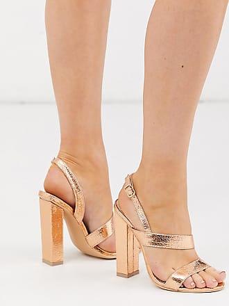 Glamorous Glamorous - Sandalen mit Blockabsatz in Roségold, weite Passform