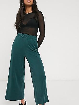 Monki Cilla - Pantaloni con fondo ampio in cupro verde scuro