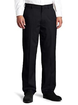Haggar Mens Flex Gabardine Solid Plain Front Pant,Black,40/29