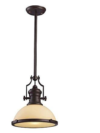 Elk Lighting 1 Light LED Pendant with Amber Glass Shade - 66133-1-LED