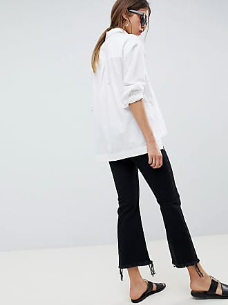 4997099750c5f Asos Maternity ASOS DESIGN Maternity Egerton rigid cropped flare jeans in  washed black with raw hem