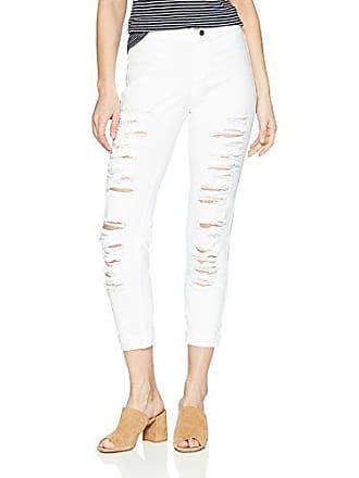 Hue Womens Fashion Denim Jean Skimmer Leggings, Assorted, Ripped Cuffed - White, Small