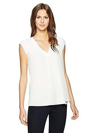 Calvin Klein Womens Sleeveless V Neck Top with Bar, Soft White, L