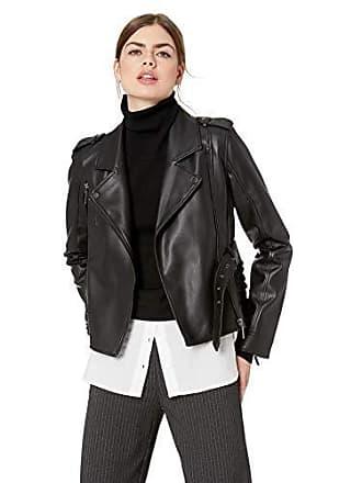 Nicole Miller Womens Pleather Moto Jacket, deep black-00205, Small