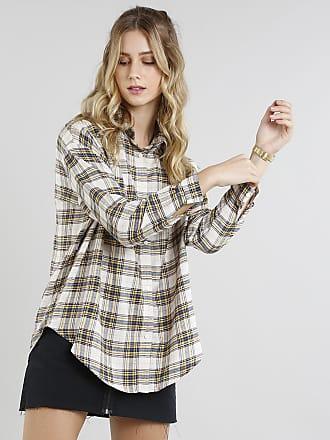 2809436a63da C&A Camisa Feminina Oversized em Flanela Estampada Xadrez Manga Longa Bege  Claro
