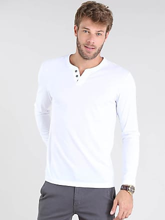 Basics Camiseta Masculina Básica Manga Longa Gola Careca Branca