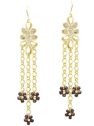 Tinna Jewelry Brinco Dourado Flor E Correntes (Imbuia)