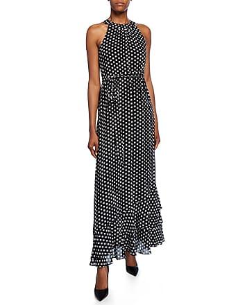 Iconic American Designer Polka Dot Tie-Waist Halter Maxi Dress