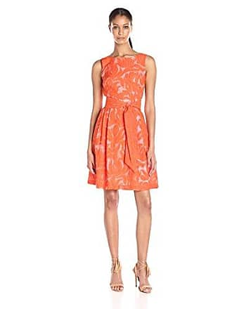 Anne Klein Womens Sheer Novelty Fit and Flare Dress with Self Sash, Orange, 2