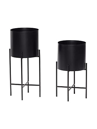 Hübsch Runda krukor med ben svart metall 2-set, hubsch