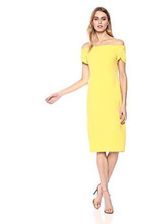 2c4a01964 Donna Morgan Womens Crepe Off The Shoulder Dress, Sunny Yellow, 4