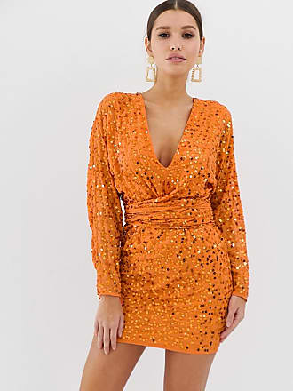 ed3df5932409 Asos mini dress with batwing sleeve and wrap waist in scatter sequin -  Orange