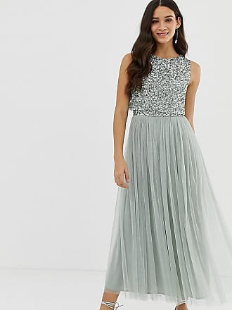 24fd7f25b65e Maya Bridesmaid sleeveless midaxi tulle dress with tonal delicate sequin  overlay in green lily