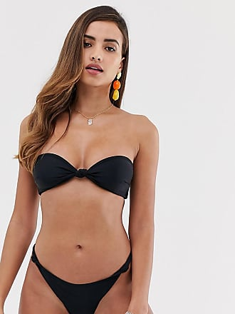 55aede973c65 South Beach Slip bikini sgambato mix & match in tessuto riciclato nero con  nodo laterale -