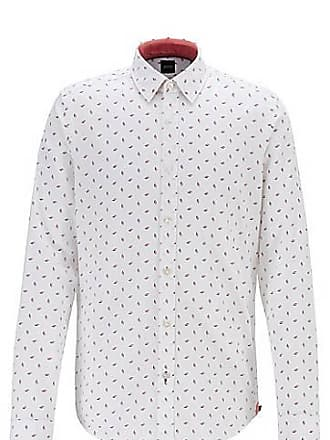 6d7a302d BOSS Regular-fit shirt with multi-coloured print on dobby cotton
