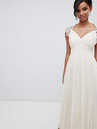Little Mistress Maxi Dress With Lace Back-Cream