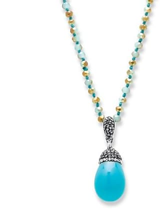 PalmBeach Jewelry Simulated Turquoise and Crystal Silvertone Teardrop Beaded Pendant Necklace 32