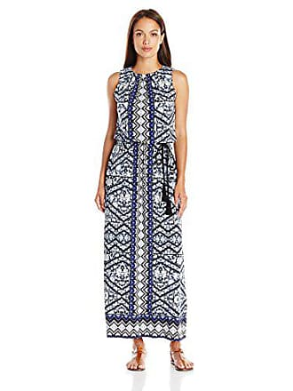 28b30c0f692 London Times Womens Plus-Size Sleeveless Printed Blouson Maxi Dress with  Tassle Tie Belt