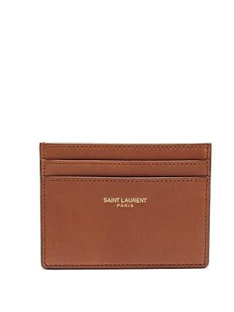 Saint Laurent Leather Cardholder - Mens - Brown