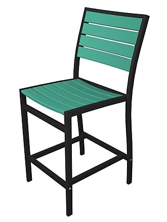 POLYWOOD Outdoor POLYWOOD Euro Counter Height Side Chair Silver Mahogany, Patio Furniture - A101FASMA