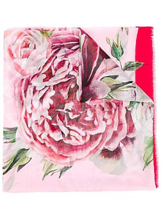 Dolce & Gabbana Echarpe estampada de seda com acabamento desfiado - Rosa