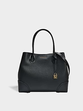 60a7a2ebaa Michael Michael Kors Mercer Gallery Large Center Zip Tote Bag in Black  Grained Calfskin