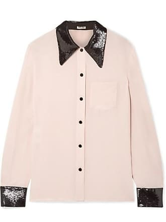 b59de7e7c62 Miu Miu Sequined Silk Crepe De Chine Shirt - Blush
