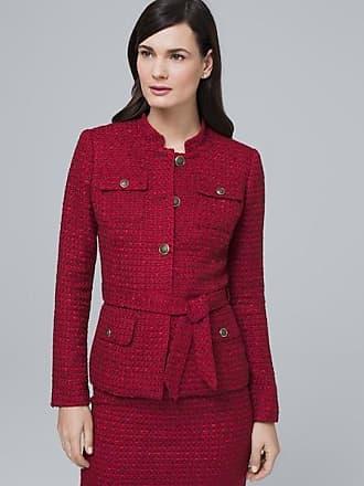 White House Black Market Womens Tweed Jacket by White House Black Market, Cardinal, Size 14
