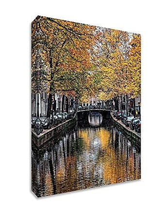 Tangletown Fine Art Canal Reflections Gallery Wrap Canvas Gray/Yellow/Black