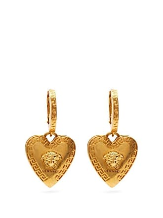 6b961ce46 Versace Medusa Embossed Heart Drop Earrings - Womens - Gold