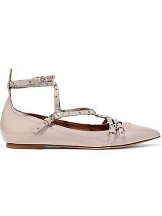 Valentino Valentino Garavani Woman Eyelet-embellished Smooth And Patent-leather Point-toe Flats Taupe Size 35
