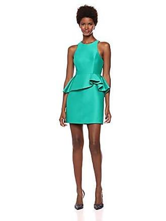 Halston Heritage Womens Sleeveless High Neck Fitted Peplum Dress, Emerald, 8