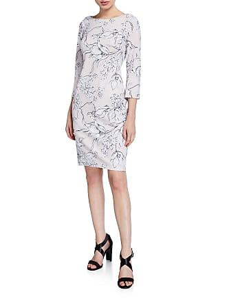 Iconic American Designer Sketch Floral Print 3/4-Sleeve Sheath Dress